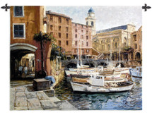 Mediterranean Colors by George Bates | Woven Tapestry Wall Art Hanging | Boats at European City Harbor | 100% Cotton USA Size 53x42 Wall Tapestry