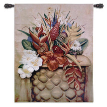 Tropical Flora | Woven Tapestry Wall Art Hanging | Diverse Radiant Floral Centerpiece | 100% Cotton USA Size 53x40 Wall Tapestry