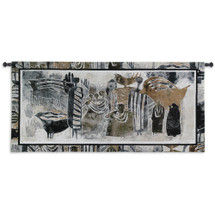 Earthmarks Ii By David Manje - Woven Tapestry Wall Art Hanging For Home Living Room & Office Decor - Abstract Silhouette Of Animals For Children'S Room - 100% Cotton - USA 24X53 Wall Tapestry