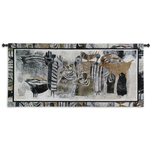 Earthmarks II by David Manje | Woven Tapestry Wall Art Hanging | Abstract Animal Silhouette - Children's Room Decor | 100% Cotton USA Size 53x24 Wall Tapestry