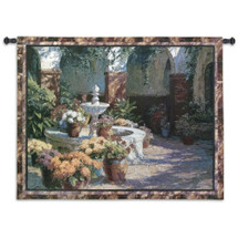 La Fuente Seca by J. Chris Morel | Woven Tapestry Wall Art Hanging | Tuscan Floral Fountain Classic Courtyard Artwork | 100% Cotton USA Size 53x40 Wall Tapestry