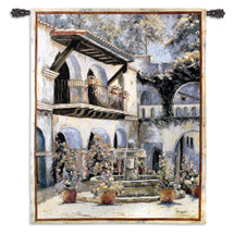 Placita de las Flores by Mary Schaefer | Woven Tapestry Wall Art Hanging | Classic Spanish Style Stucco Courtyard with Fountain | 100% Cotton USA Size 53x40 Wall Tapestry