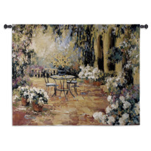 Floral Courtyard by Allayn Stevens | Woven Tapestry Wall Art Hanging | Table for Two in Lush Impressionist Brick Courtyard | 100% Cotton USA Size 53x40 Wall Tapestry
