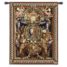 Portiere du Char de Triomphe Wool and Cotton by Charles Le Brun for Louis XIV | Woven Tapestry Wall Art Hanging | Greek God Apollo Golden Armor with Cherubs | 100% Cotton USA Size 70x53 Wall Tapestry