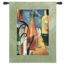 Vino by Andy Powell | Woven Tapestry Wall Art Hanging | Abstract Global Wine Themed Artwork | 100% Cotton USA Size 53x39 Wall Tapestry