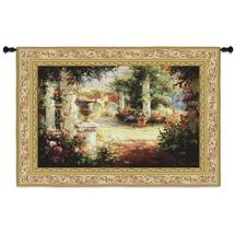 Fine Art Tapestries Sunlit Courtyard Hand Finished European Style Jacquard Woven Wall Tapestry USA 36X53 Wall Tapestry