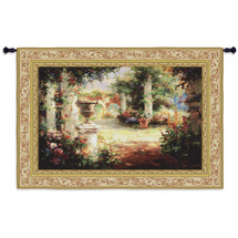 Sunlit Courtyard | Woven Tapestry Wall Art Hanging | Vibrant Floral Walkway with Stone Columns | 100% Cotton USA Size 53x36 Wall Tapestry