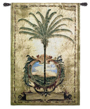 Sunset Palm by Liz Jardine | Woven Tapestry Wall Art Hanging | Old-World Tropical Palm Tree at Ocean | 100% Cotton USA Size 53x37 Wall Tapestry