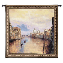 Grand Canal | Woven Tapestry Wall Art Hanging | Romantic Sunset on Venetian Waterway | 100% Cotton USA Size 53x53 Wall Tapestry
