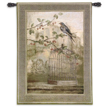 Oiseau Cage Cerise Ii By Fabrice De Villeneuve | Woven Tapestry Wall Art Hanging | Bird Perches On A Limb Just Above Cage | 100% Cotton USA 53X38 Wall Tapestry