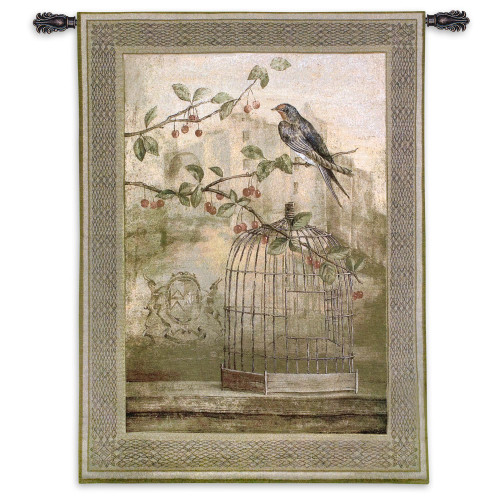 Oiseau Cage Cerise II by Fabrice de Villeneuve | Woven Tapestry Wall Art Hanging | Bird Perches on Limb above Cage | 100% Cotton USA Size 53x38 Wall Tapestry
