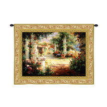 Sunlit Courtyard by Wei Haibin | Woven Tapestry Wall Art Hanging | Vibrant Floral Walkway with Stone Columns | 100% Cotton USA Size 70x53 Wall Tapestry