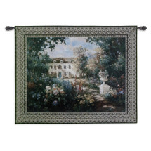 Aix en Provence by Vail Oxley | Woven Tapestry Wall Art Hanging | Vibrant Floral Garden at Luxorius French Villa | 100% Cotton USA Size 68x53 Wall Tapestry