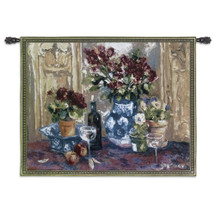 Red Roses With Wine By Allayn Stevens - Woven Tapestry Wall Art Hanging - Still Life Of Red Roses Wine Delft Blue Vase Pansy Blossoms - 100% Cotton - USA 40X53 Wall Tapestry