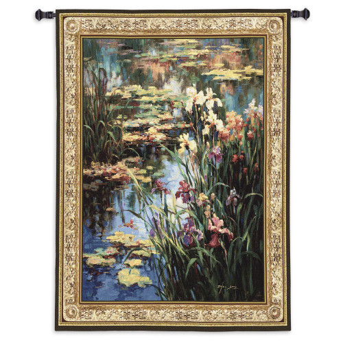 Summer Lily By Vail Oxley - Woven Tapestry Wall Art Hanging For Home Living Room & Office Decor - Water Lily Pad Impressionist Colorful Floral Theme - 100% Cotton - USA Wall Tapestry