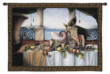 Promessa d'Estate Wool and Cotton by Paul Panossian | Woven Tapestry Wall Art Hanging | Classic Fruit and Shells Still Life | 100% Cotton USA Size 53x40 Wall Tapestry