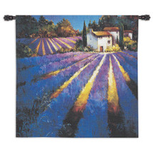 Evening Light Provence by Nancy O'Toole | Woven Tapestry Wall Art Hanging | House Nestled in Vibrant Lavender Field | 100% Cotton USA Size 53x53 Wall Tapestry