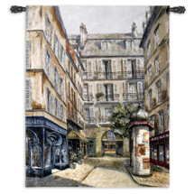 Maroquinerie by Fabrice de Villeneuve | Woven Tapestry Wall Art Hanging | Vintage Parisian Street Shops | 100% Cotton USA Size 53x40 Wall Tapestry