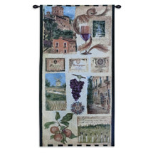 Wine Country II by Elizabeth Jardine | Woven Tapestry Wall Art Hanging | Vintage European Wine Vineyard Collage | 100% Cotton USA Size 53x27 Wall Tapestry