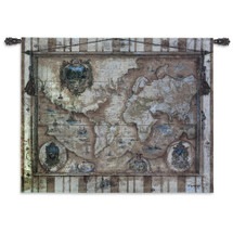 Souvenirs des Voyage   Woven Tapestry Wall Art Hanging   18th Century European Style World Map   100% Cotton USA Size 53x40 Wall Tapestry