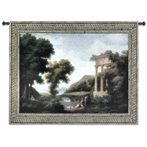 Afternoon Retreat | Woven Tapestry Wall Art Hanging | Villagers Resting at Forest Bridge | 100% Cotton USA Size 53x40 Wall Tapestry