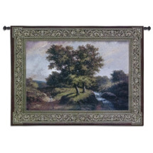 Summer Stroll by Riccardo Bianchi | Woven Tapestry Wall Art Hanging | Serene Roadside Landscape by Stream | 100% Cotton USA Size 53x38 Wall Tapestry