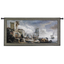 Evening Anticipation | Woven Tapestry Wall Art Hanging | Historic European Harbor with Dock Workers | 100% Cotton USA Size 53x26 Wall Tapestry