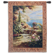 Terrazzo I by Roberto Lombardi | Woven Tapestry Wall Art Hanging | Italian Lake View from Terrace | 100% Cotton USA Size 53x39 Wall Tapestry