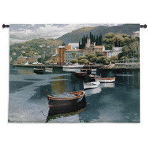 Before the Rain by Ramon Pujol | Woven Tapestry Wall Art Hanging | Sailboats at Tropical Hillside Village Harbor | 100% Cotton USA Size 53x38 Wall Tapestry