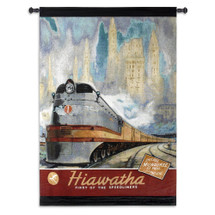 Hiawatha | Woven Tapestry Wall Art Hanging | Steam Engine Passenger Train Vintage Poster | 100% Cotton USA Size 53x39 Wall Tapestry