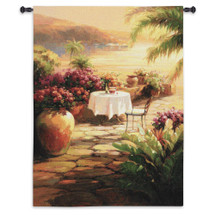 Courtyard View II | Woven Tapestry Wall Art Hanging | Contemporary Tuscan Villa Harbor Tropical Seascape | 100% Cotton USA Size 53x39 Wall Tapestry
