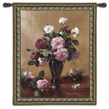 Cherished Bliss By Albert Williams - Woven Tapestry Wall Art Hanging For Home Living Room & Office Decor - Floral Still Life Bloomed Floral Bouquet Vase Urn Centerpiece - 100% Cotton - USA 53X40 Wall Tapestry
