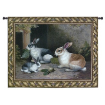Lapin Cotton | Woven Tapestry Wall Art Hanging | Cottontail Rabbits Snacking on Turnips Children's Decor | 100% Cotton USA Size 53x40 Wall Tapestry
