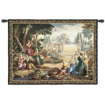 Romantic Pastoral Scene - Woven Tapestry Wall Art Hanging - Group Of Musical Courtesans Woods Forest Area Renaissance Pasture Romantic - 100% Cotton - USA 53X71 Wall Tapestry