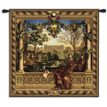 Le Chateau de Monceau by Louis Carrogis | Woven Tapestry Wall Art Hanging | Louis XIV Palace Garden with String Musicians | 100% Cotton USA Size 53x53 Wall Tapestry
