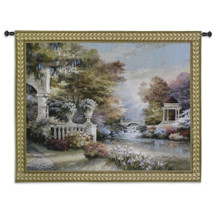 Peaceful Song by James Lee | Woven Tapestry Wall Art Hanging | Lush Formal Classical Flower Garden | 100% Cotton USA Size 53x41 Wall Tapestry