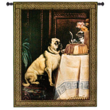 Temptation | Woven Tapestry Wall Art Hanging | Well Behaved Mastiff Resisting to Spoil Dessert | 100% Cotton USA Size 53x40 Wall Tapestry