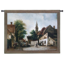 Cobblestone Way by Riccardo Bianchi   Woven Tapestry Wall Art Hanging   Classic European Village Street Scene   100% Cotton USA Size 53x40 Wall Tapestry