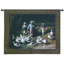 Abigail's Watch | Woven Tapestry Wall Art Hanging | Classic Group of Children Playing with Birds | 100% Cotton USA Size 53x40 Wall Tapestry
