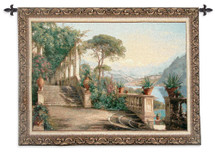 Lodge at Lake Como by Carl Frederik Aagaard | Woven Tapestry Wall Art Hanging | Italian Landscape Lakeside Scenery | 100% Cotton USA Size 53x36 Wall Tapestry