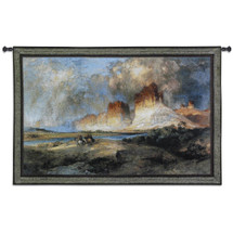Cliffs of the Upper Colorado River, Wyoming Territory by Thomas Moran | Woven Tapestry Wall Art Hanging | Wild West Cowboys Panoramic Landscope | 100% Cotton USA Size 80x53 Wall Tapestry