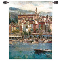 Mediterranean Harbor by Peter Bell | Woven Tapestry Wall Art Hanging | Sailboat off Vibrant Villa Seaside Harbor | 100% Cotton USA Size 53x38 Wall Tapestry