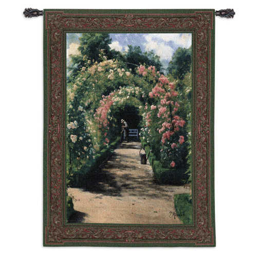 In the Garden | Woven Tapestry Wall Art Hanging | Blooming English Garden with Trellis Archways | 100% Cotton USA Size 76x53 Wall Tapestry