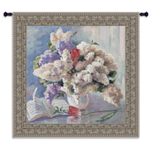 Flowers from Strauss by Valeriy Chuikov | Woven Tapestry Wall Art Hanging | Bright Pastel Bouquet with Sheet Music Score | 100% Cotton USA Size 53x53 Wall Tapestry