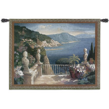 Amalfi Holiday by Max Hayslette | Woven Tapestry Wall Art Hanging | Romantic Mediterranean Coast Seaside View | 100% Cotton USA Size 53x41 Wall Tapestry