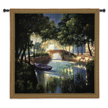 Blue Boat By Max Hayslette | Woven Tapestry Wall Art Hanging | Romantic Secluded Moonlit Forest Shore | 100% Cotton USA Size 53x53 Wall Tapestry