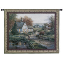 Sunday Services | Woven Tapestry Wall Art Hanging | Warm Church Pathway by Pond Religious Artwork | 100% Cotton USA Size 53x41 Wall Tapestry