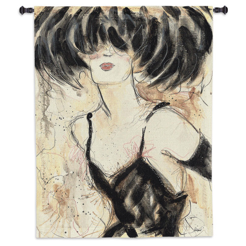 Caprice V By Karen Dupré - Woven Tapestry Wall Art Hanging For Home Living Room & Office Decor - Romantic Tapestry Vogue Glamorous Show Girl In Charcoal Feather Hat - 100% Cotton - USA Wall Tapestry