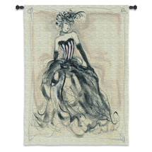 Pretty in Pink | Woven Tapestry Wall Art Hanging | Glamorous Showgirl in Bonnet Charcoal Etching | 100% Cotton USA Size 53x43 Wall Tapestry