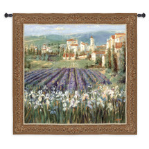 Provencal Village by Michael Longo | Woven Tapestry Wall Art Hanging | French Impressionists Village with Lavender Field Landscape | 100% Cotton USA Size 53x53 Wall Tapestry